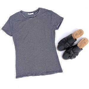 Zara • Black & White Striped Crew Neck Tee Shirt